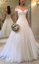 Elegantes A-line Schulterfreies Langes Hochzeitskleid Aus Tüll Elfenbein Twa3262