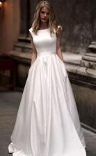 Vintage A-linie Prinzessin Elfenbein Satin Langes Brautkleid Mit Taschen Twa3282