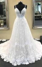 Ballkleid Mit V-ausschnitt Spaghetti-trägern Elfenbein Spitze Langes Hochzeitskleid Twa3312