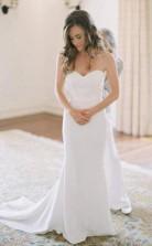 Einfaches Cremefarbenes Brautkleid Im Meerjungfrau-stil Mit Herzförmigem Halsausschnitt Twa3332
