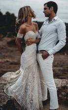 Elfenbein-spitze Brautkleid Schatz-ausschnitt Brautkleid Twa3352