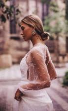 A-linie Durchsichtig Tüll Langarm Brautkleid Perle Twa3362
