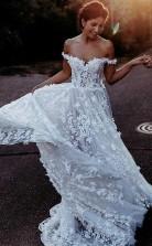 Elegantes A-line Schulterfreies Brautkleid Aus Weißem Tüll Mit Applikationen Twa3372