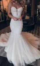 Elegantes Schatz Meerjungfrau Spitze Langes Brautkleid Mit Perlen Twa3562
