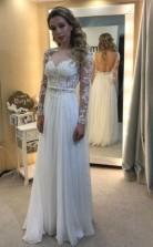 Weißes Chiffon Langärmliges Rückenfreies Brautkleid Mit Applikationen Twa3602