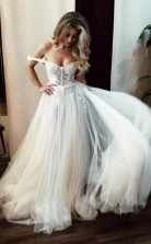 Durchsichtiges Schulterfreies Langes Brautkleid In Elfenbein Mit Applikationen Twa3632