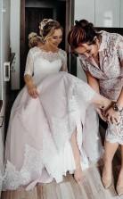 Halbe Ärmel Rosa Rückenfreies Bodenlanges Brautkleid Zum Schnüren Twa3672