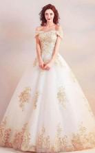 Schulterfreies Ballkleid Langes Brautkleid Mit Goldenen Applikationen Twa3682