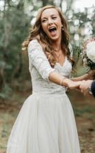 A-linie V-ausschnitt Halbe Ärmel Rückenfreies Brautkleid Aus Tüll Mit Applikationen Twa3702