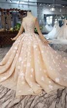 Elegantes Ballkleid Mit Langen Ärmeln Perlen Brautkleid Mit Blumen Twa3772
