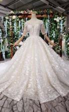 Elegantes Ballkleid Mit Halben Ärmeln Spitze Schatz Hochzeitskleid Twa3792
