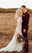Elfenbein Langarm Rustikales Hochzeitskleid Rückenfreie Hülle Strandhochzeitskleid Twa3842