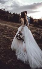 Elegantes Langärmliges Brautkleid Aus Tüll Brautkleider Mit Spitzenapplikationen Twa3852