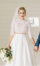 Zweiteiliges Durchsichtiges Brautkleid Mit Halben Ärmeln Und Spitzenoberteil Twa3872