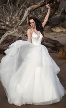 Klassische Träger V-ausschnitt Elfenbein Lange Brautkleid Brautkleid Twa3882