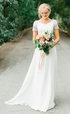 Chiffon V-ausschnitt A-linie Brautkleid Mit Perlenstickerei Twa4022