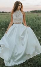 A Line Zweiteiliges Weißes Hochzeitskleid Aus Spitze Mit Taschen Twa4032