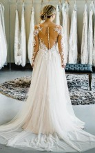 Schulterfrei Lange Ärmel Zug Langes Hochzeitskleid Brautkleid Twa4152