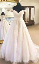 Schulterfreies Brautkleid In Elfenbein-optik Mit Falten Twa4182