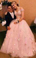 Zweiteiliges Brautkleid Mit V-ausschnitt 3d Blumen Applizierte Brautkleider Twa4202