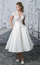 Kurzes Hochzeitskleid V-ausschnitt Spitze Tee-länge Elfenbein Schlichtes Brautkleid Twa4222