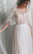 Halbarm Brautkleid A-linie Elegante Einfache Romantische Spitze Brautkleid Twa4242