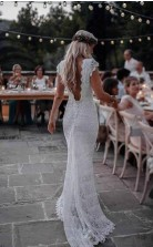 Meerjungfrau Rückenfreies Boho-hochzeitskleid Mit Flügelärmeln Twa4352