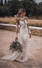 Atemberaubende Spitzenapplikationen Sehen Aber Meerjungfrau Rustikale Hochzeit Mit Ärmeln Twa4472