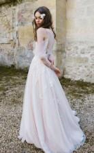 Langarm-strandhochzeitskleid Kalte Schulter Boho Rustikales Hochzeitskleid Twa4482
