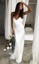 Meerjungfrau Spaghettiträger Rückenfrei Hofzug Weißes Hochzeitskleid Twa4502