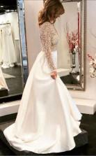 A-linie V-ausschnitt Durchsichtig Mieder Perlen Lange Ärmel Brautkleid Twa4542