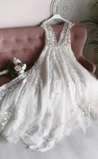 Weißes Tüll V-ausschnitt Mit Offenem Rücken Langes Blumenhochzeitskleid Twa4562