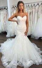 Sweetheart-ausschnitt Sexy Spitze Meerjungfrau Brautkleid Mit Rüschen Twa4642wa