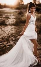 Spitze Mieder V-ausschnitt Brautkleid Weiß Rückenfrei A-linie Brautkleid Twa4682