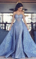 Schatz Abnehmbares Blaues Langes Brautkleid Aus Spitze Mit Applikationen Twa4792