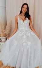 A-linie V-ausschnitt Tüll Spitzenapplikationen Romantisches Hochzeitskleid Brautkleid Twa4802