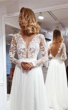 Simple A Line V-ausschnitt Elfenbein Spitze Lange ärmel Geteiltes Hochzeitskleid Twa4812