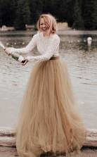 A-line Langarm Rückenfreies Prinzessinkleid Hochzeitskleid Brautkleid Twa4842