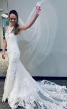 Meerjungfrau-spitze Brautkleid Mit Halbkathedrale-zug Racer Back Brautkleid Twa4922