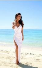 Einfaches Sexy Offenes Strand-seitenschlitz-spaghettiträger-hochzeitskleid Twa5062