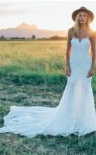 Wunderschöne Spitze Elfenbein Meerjungfrau Schatz Rustikales Hochzeitskleid Twa5122