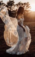 Meerjungfrau Schulterfreies Tüllapplikationen Tolles Rustikales Hochzeitskleid Twa5182