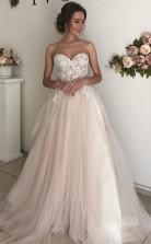 A-line Schatz Boho Brautkleid Spitze Romantisches Hochzeitskleid Twa5202