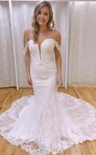 Elegantes Schulterfreies Brautkleid Im Meerjungfrau-stil Mit Applikationen Twa5272