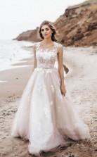 Vintage Spitze U-ausschnitt A-linie Tüll Hochzeit Brautkleid Twa5312