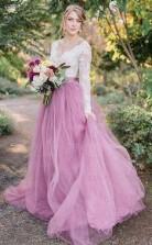 A-linie V-ausschnitt Lange Ärmel Rosa Tüll Brautkleid Mit Spitzenapplikationen Twa5452