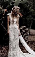 Vintage Spitze Rustikales Hochzeitskleid Flügelärmeln Boho Brautkleider Twa5482