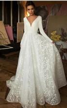 A Line Elegante Lange ärmel V-ausschnitt Strand Hochzeitskleid Brautkleid Twa5512