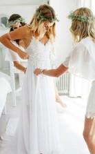 Romantisches Schatz-chiffon-strandhochzeitskleid Mit Spitze Twb2012