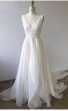 A-linie V-ausschnitt Elfenbein Brautkleid Hochzeitskleid Mit Hofschleppe Court